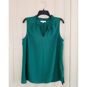 Rose & Olive Green Top Sleeveless Shirt Blouse